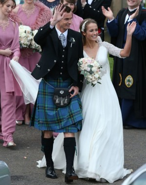 The newly married Mr and Mrs Murray at Dunblane