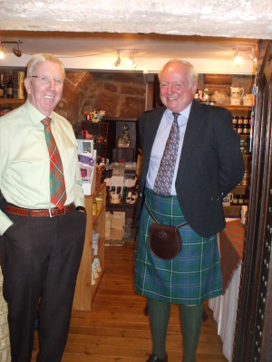 Malcolm Hay in the Hunting Hay tartan (with Bill Bailey at Delgatie)