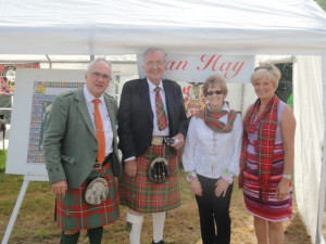 Ewan & Isabelle Hay, of Faskally Caravans at Pitlochry, welcomed in the Clans tent by Tom Hye, Convenor Continental Europe Clan Hay & his wife Liliane
