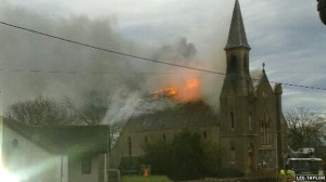 Cruden West Church consumed by fire this morning