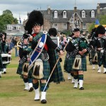 The Massed Bands enter the Aboyne Games field in 2010