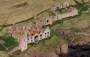 Slains Castle from above